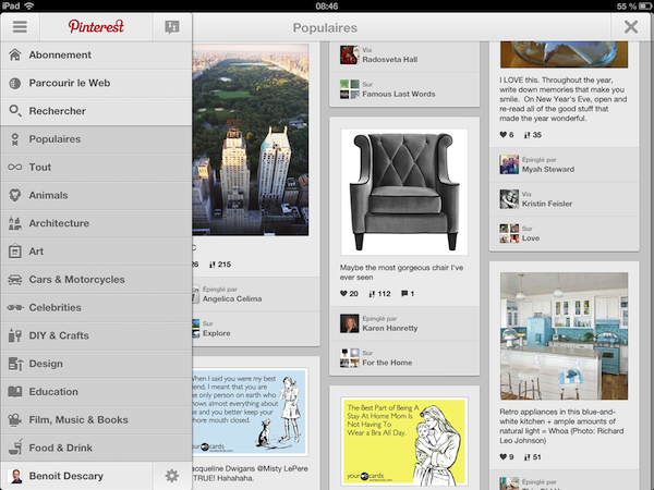 Pinterest dévoile ses applications iPad et Android