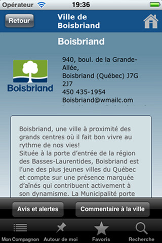Application mobile ville Boisbriand