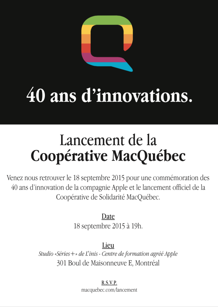 Lancement cooperative MacQuebec