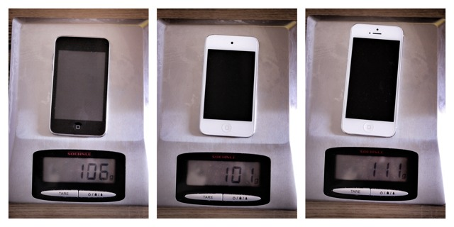 Comparatif poids iPhone 5 vs iPod Touch