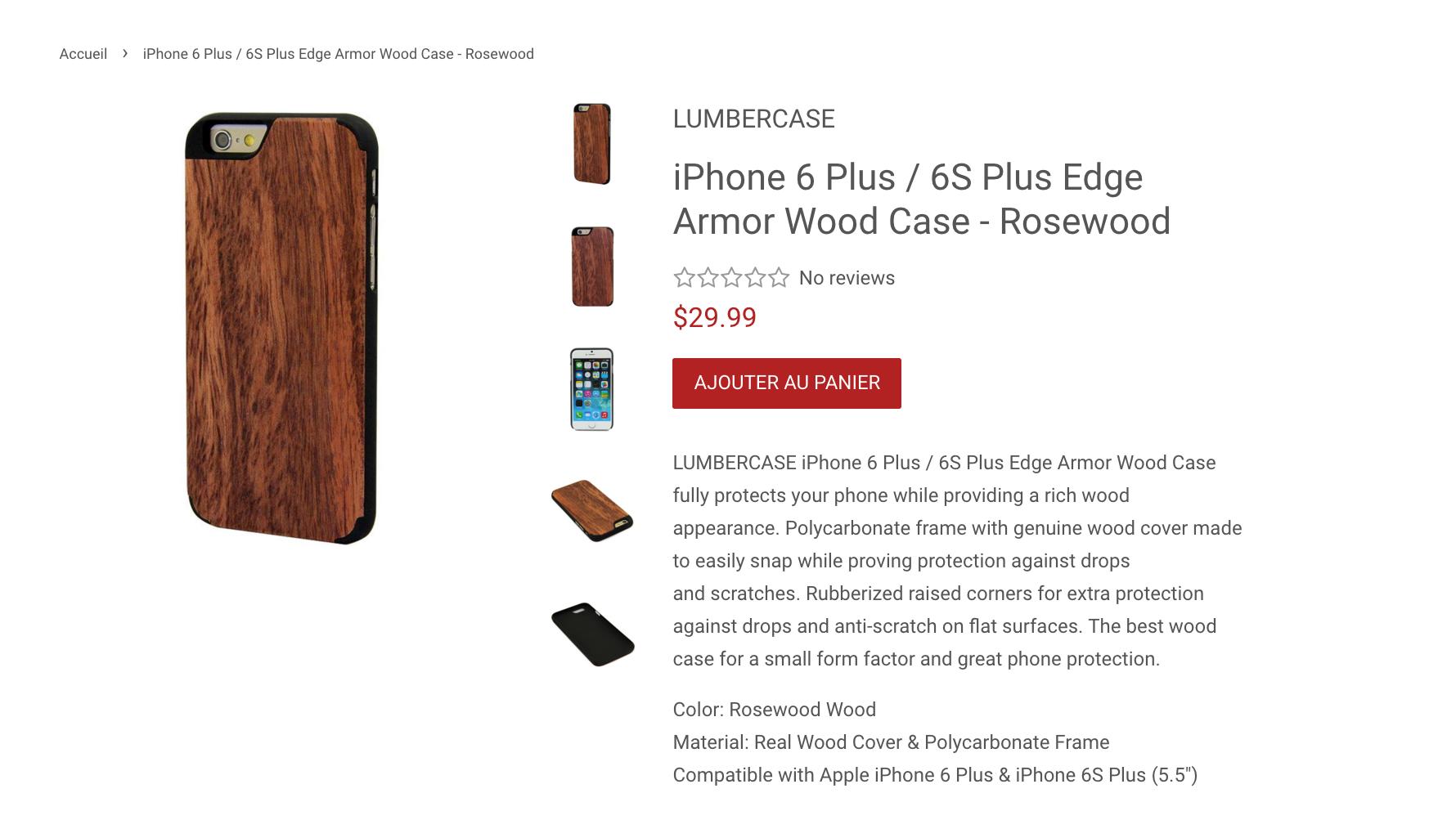 Test d'un étui en bois de LUMBERCASE pour iPhone 6 Plus / 6S Plus