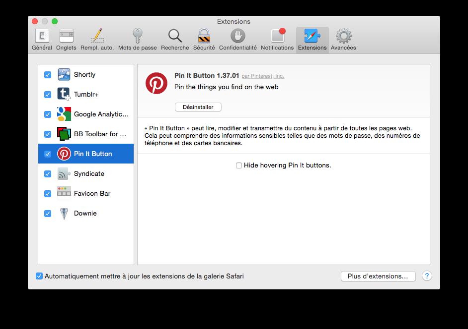 Apple Safari - Fenêtre Préférences Extensions