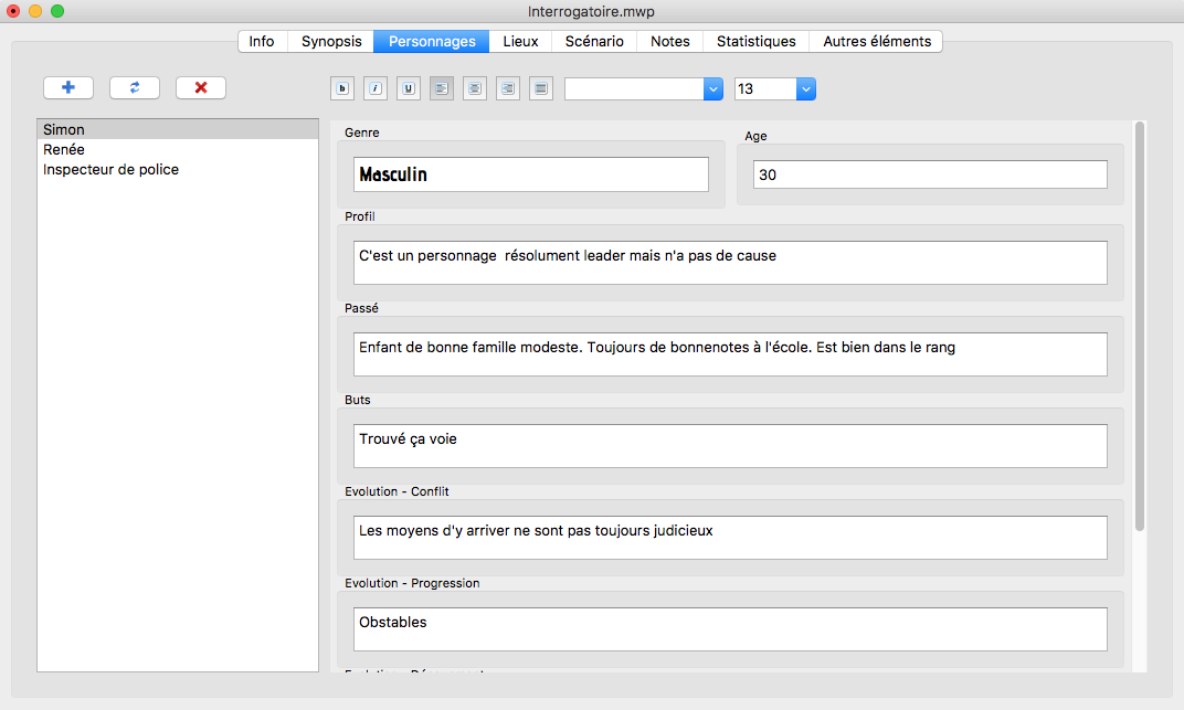 MovieWriterPro - section personnages