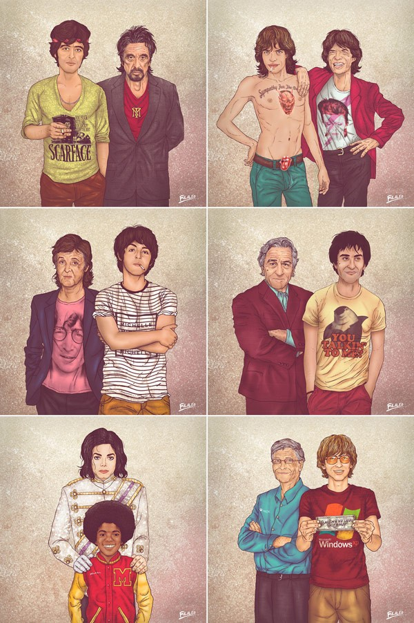 Me-and-my-other-me-an-illustration-series-by-Fulvio-Obregon-featuring-the-young-and-old-personalities-of-famous-people-600x901