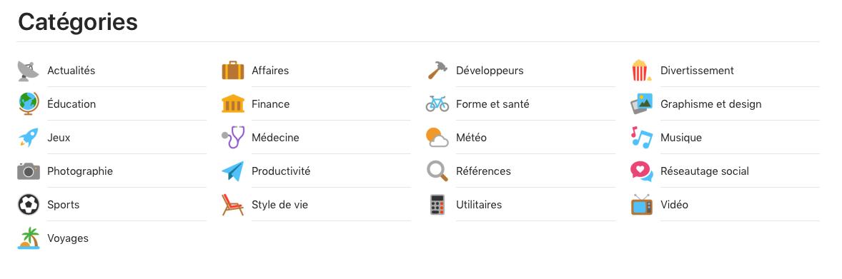 Voici les diverses catégories des extensions de navigateur. La capture d'écran montre les extensions disponibles pour Safari.