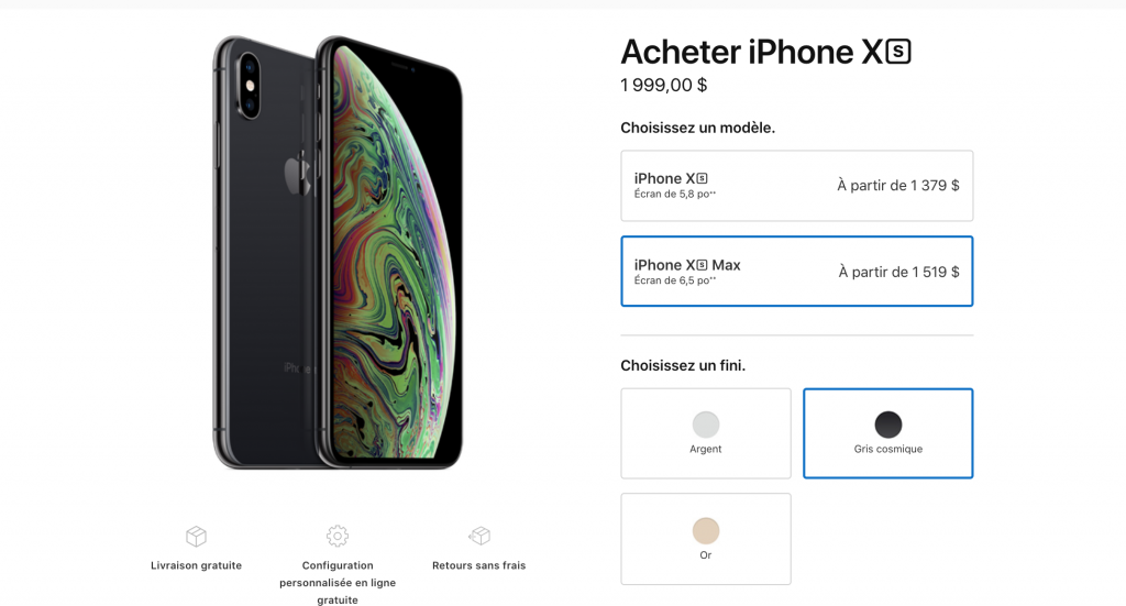 iPhone XS Max cher