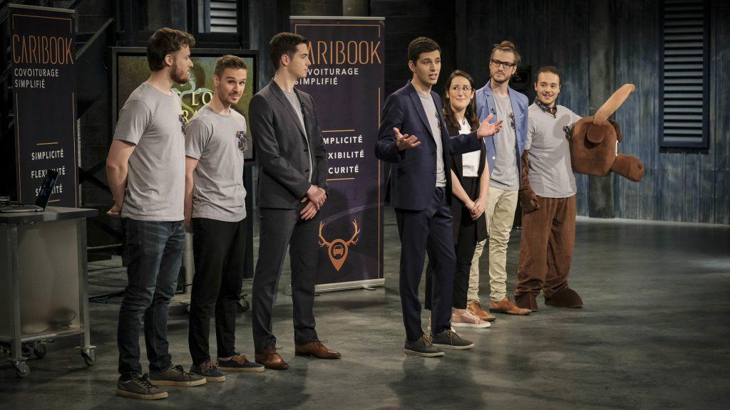 Image montrant l'équipe de Caribook lors de son passage à l'émission Dans l'oeil du dragon
