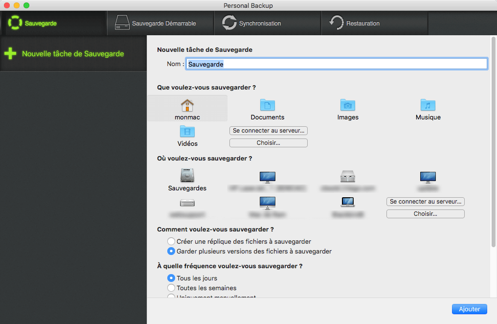 Image montrant l'interface principale de Personal Backup
