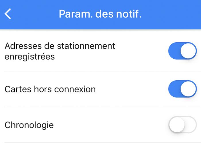 adresses de stationnements google maps