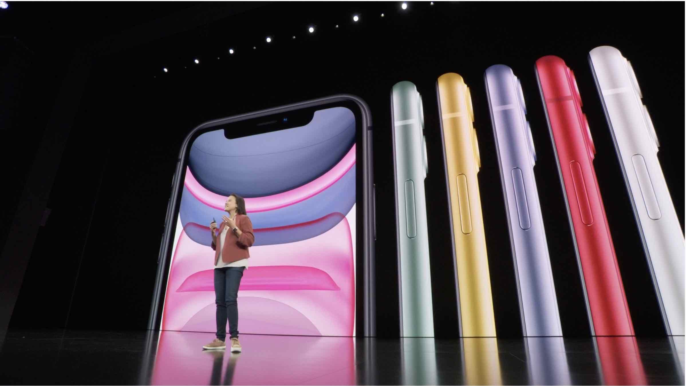 Image montrant l'iPhone 11 en différents coloris