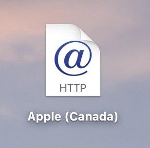 Image montrant un fichier Web Internet Location (webloc) sur le bureau
