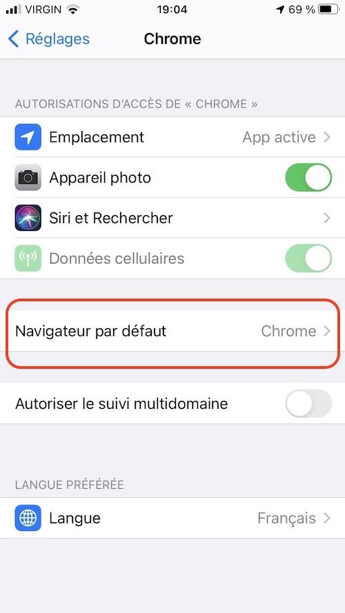Image montrant le choix du navigateur par défaut dans iOS 14